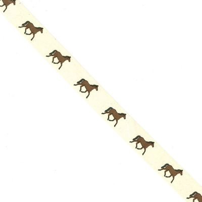 Novelty Natural Ribbon - Horses - 25mm