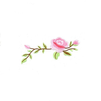 Large Embroidered Motif - Pale Pink Rose - 19cm