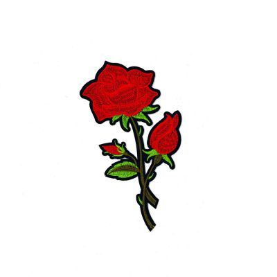 Large Embroidered Motif - Red Rose And Buds - 18cm
