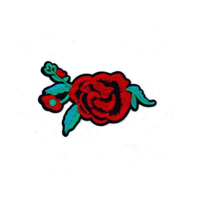 Remnant - Medium Embroidered Motif - Red Rose With Jade Leaves - 12cm - Discontinued Line