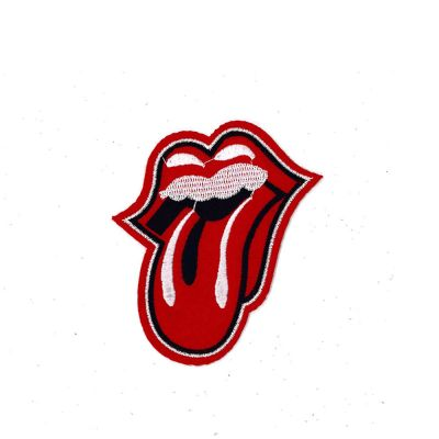 Medium Embroidered Motif - Rock N Roll Tongue - 10cm