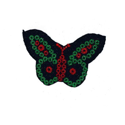 Medium Embroidered Motif - Black Butterfly Sparkle - 12cm