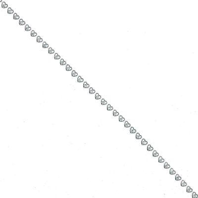 Diamante Trim - Love Hearts - Silver