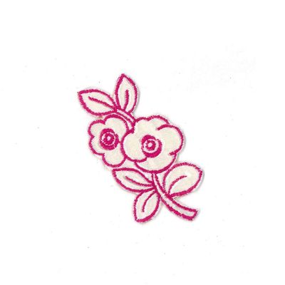 Small Embroidered Motif - Pink Ivory Flower - 11cm