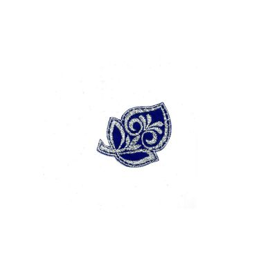 Small Embroidered Motif - Royal Blue & Silver Leaf - 6cm