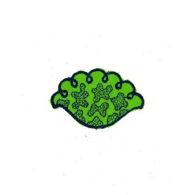 Small Embroidered Motif - Green Navy Floral - 8cm