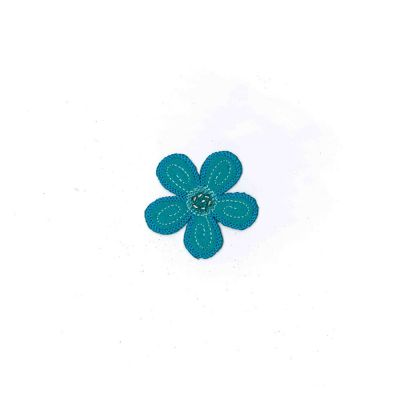 Small Embroidered Motif - Turquoise Flower - 5.5cm