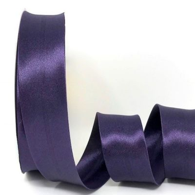 Satin Bias Binding - Aubergine - 18mm Or 30mm Wide