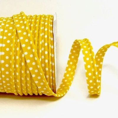 Polycotton Spotty Piping Bias Binding - 10mm Wide - Yellow With White Dots