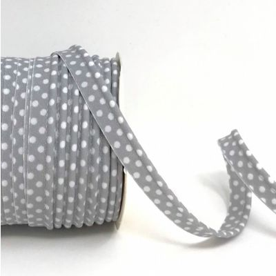 Polycotton Spotty Piping Bias Binding - 10mm Wide - Grey With White Dots