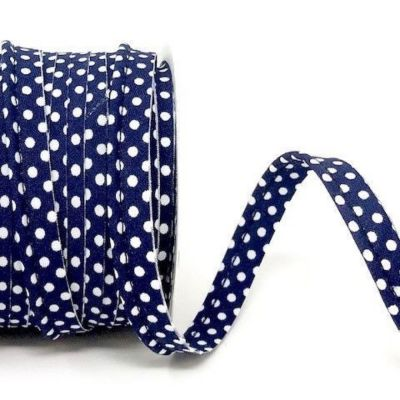 Polycotton Spotty Piping Bias Binding - 10mm Wide - Navy With White Dots