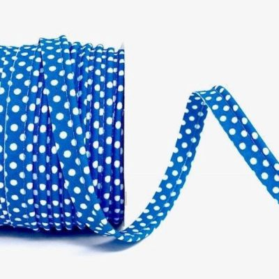 Polycotton Spotty Piping Bias Binding - 10mm Wide - Mid Blue With White Dots