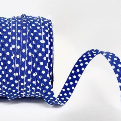 Polycotton Spotty Piping Bias Binding - 10mm Wide - Royal Blue With White Dots
