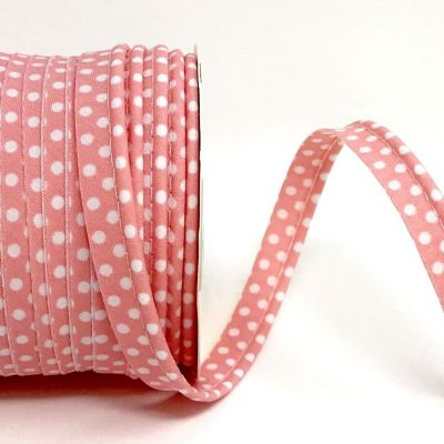 Polycotton Spotty Piping Bias Binding - 10mm Wide - Antique Rose With White Dots