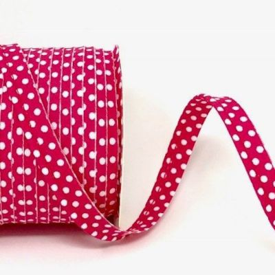 Polycotton Spotty Piping Bias Binding - 10mm Wide - Fuchsia With White Dots