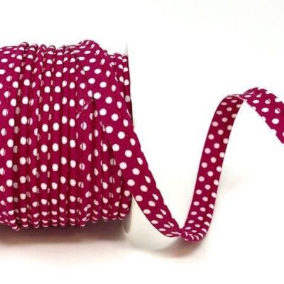 Polycotton Spotty Piping Bias Binding - 10mm Wide - Cranberry With White Dots