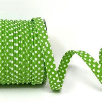 Polycotton Spotty Piping Bias Binding - 10mm Wide - Lime With White Dots