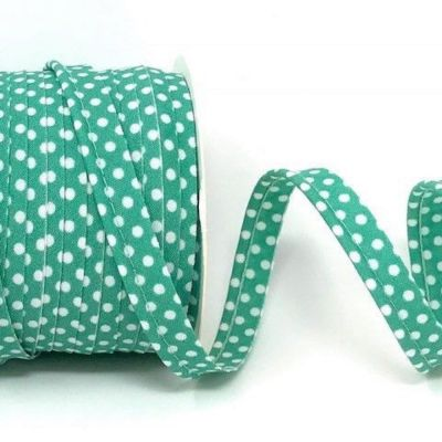 Polycotton Spotty Piping Bias Binding - 10mm Wide - Jade With White Dots
