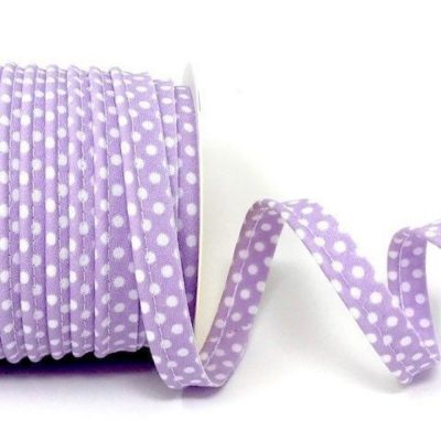 Polycotton Spotty Piping Bias Binding - 10mm Wide - Lilac With White Dots