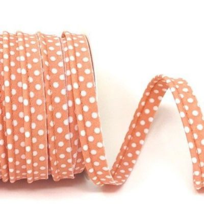 Polycotton Spotty Piping Bias Binding - 10mm Wide - Salmon With White Dots