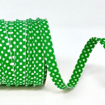 Polycotton Spotty Piping Bias Binding - 10mm Wide - Emerald With White Dots