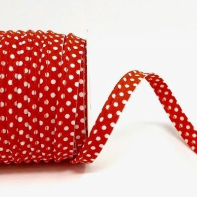 Polycotton Spotty Piping Bias Binding - 10mm Wide - Orange With White Dots