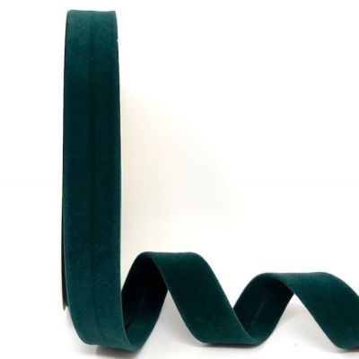 Byesta Fany Velvet Bias Binding - 18mm Wide - Forest Green