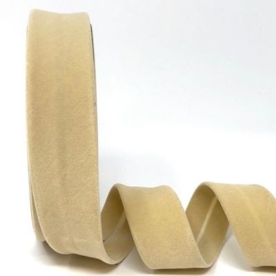 Byesta Fany Velvet Bias Binding - 30mm Wide - Cream