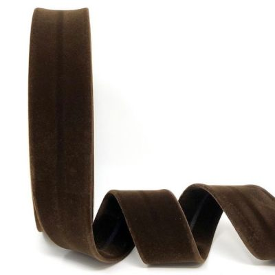 Byesta Fany Velvet Bias Binding - 30mm Wide - Brown