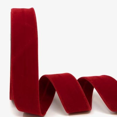 Byesta Fany Velvet Bias Binding - 30mm Wide - Red