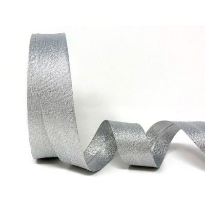 Metallic Lame Bias Binding - 30mm Wide - Silver