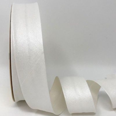 Metallic 100% Cotton Bias Binding - 30mm Wide - White