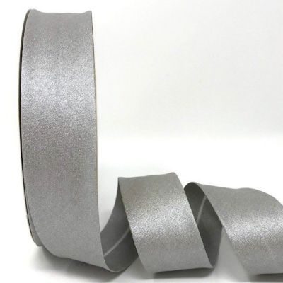 Metallic 100% Cotton Bias Binding - 30mm Wide - Silver