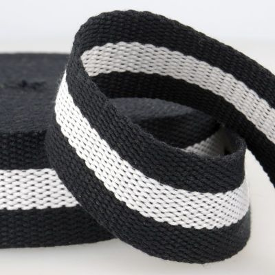 Two Tone Polyester Webbing - 38mm Wide - Black & White