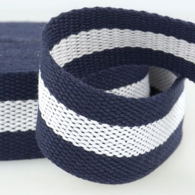 Two Tone Polyester Webbing - 38mm Wide - Navy & White