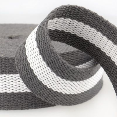Remnant - Two Tone Polyester Webbing - 38mm Wide - Grey & White -120cm LENGTH
