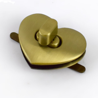 Heart Shaped Metal Bag Clasp  - Bronze