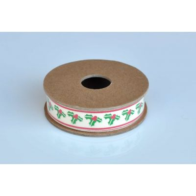 Christmas Ribbon 3m Reel - Holly Sprigs On Ivory