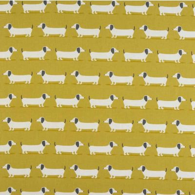 Laminated Cotton - Hound Dog - Ochre