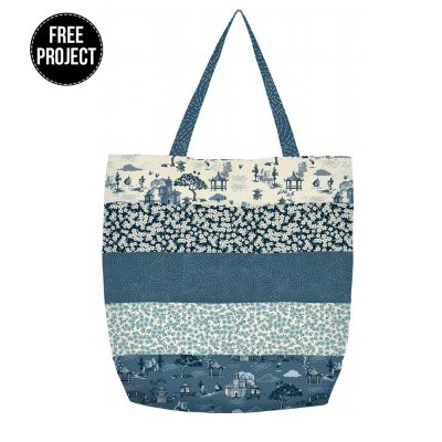 Makower - Indigo - Striped Tote Bag Pattern - Free Instant Download
