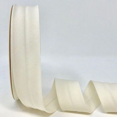 Plain Stretch Cotton Jersey Bias Binding - 30mm Wide - Ivory