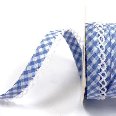 Byesta Fany Lace Edge Gingham Bias Binding - Light Blue - 12mm Wide