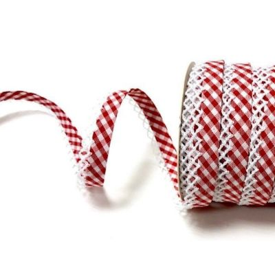 Byesta Fany Lace Edge Gingham Bias Binding - Red - 12mm Wide