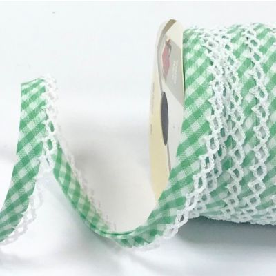 Byesta Fany Lace Edge Gingham Bias Binding - Spring Green - 12mm Wide