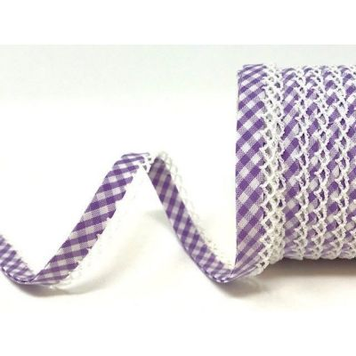 Byesta Fany Lace Edge Gingham Bias Binding - Lilac - 12mm Wide