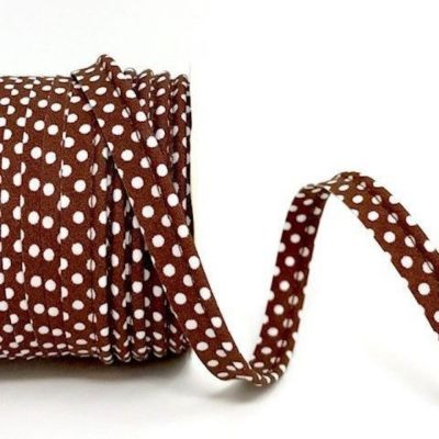 Polycotton Spotty Piping Bias Binding - 10mm Wide - Brown With White Dots