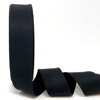 Plain Stretch Cotton Jersey Bias Binding - 30mm Wide - Black