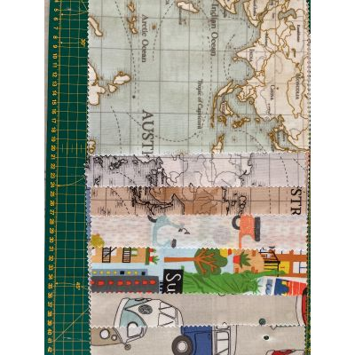 Remnant - 7 x Transport and Travel designs - 19cm x 24cm  - Laminated Cotton samplers