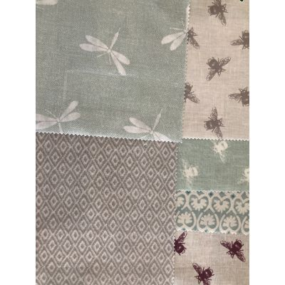 Remnant - 6 x mixed bee/dragonfly/co-ordinated theme- 19cm x 24cm  - Laminated Cotton samplers