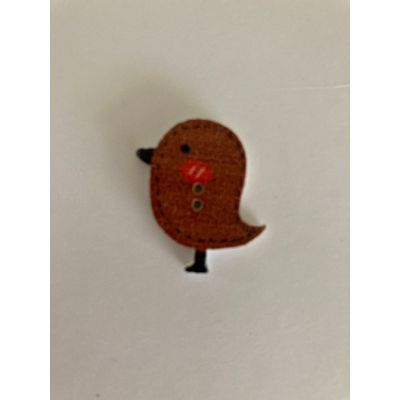 Remnant - 2 x Cute Robin Wooden Buttons- Brown - 23mm - End of Line